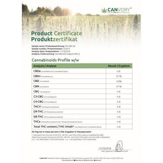 CBD Cannabidiol hempseed oil 5 %, 500mg - 10ml
